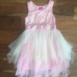 Pinky Dress with sequin top and tulle layers